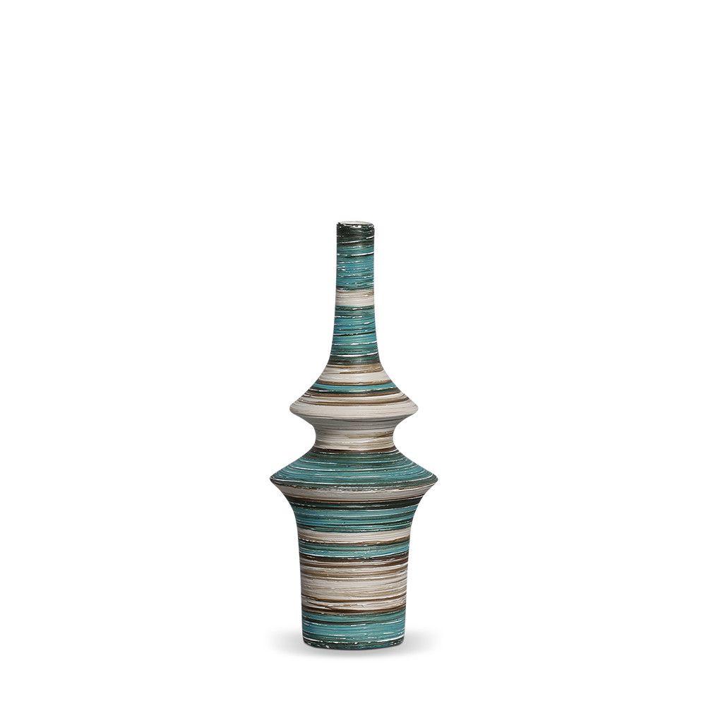 Garrafa Oriental P Decoração Em Cerâmica  Azul e Palha Marrakesh