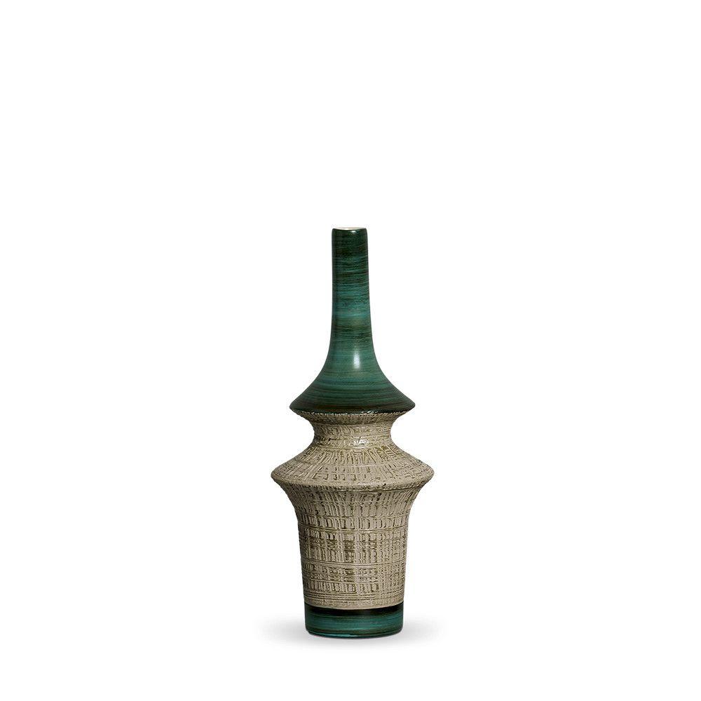 Garrafa Oriental P Decoração Em Cerâmica Verde e Palha Dubai