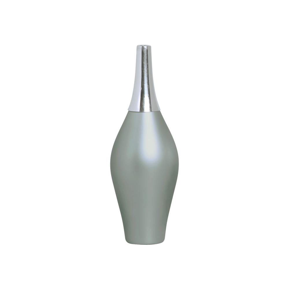 Garrafa Styllo G com Alumínio Decoração em Cerâmica Cinza Fosco