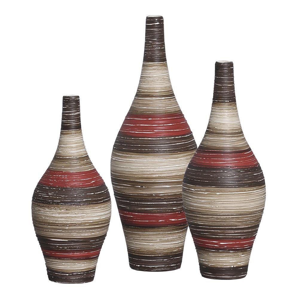 Trio Garrafa Styllo Decoração Cerâmica Vermelho e Marrom Terracota