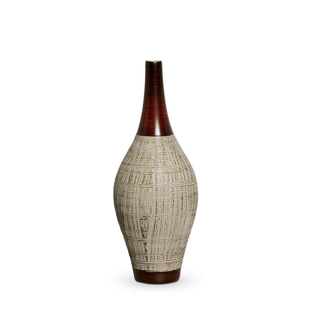 Garrafa Styllo M Decoração Em Cerâmica Marrom E Palha Ganash
