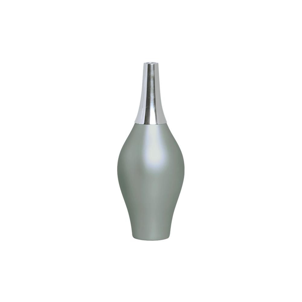 Garrafa Styllo M Com Alumínio Decoração Cerâmica Cinza Fosco