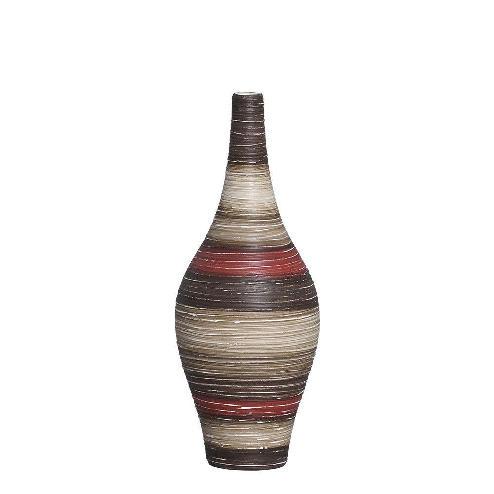 Garrafa Styllo M Decoração Cerâmica Vermelho e Marrom Terracota