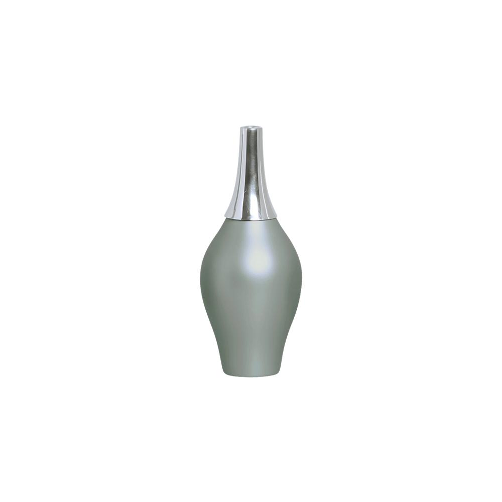 Garrafa Styllo P com Alumínio Decoração Cerâmica Cinza Fosco