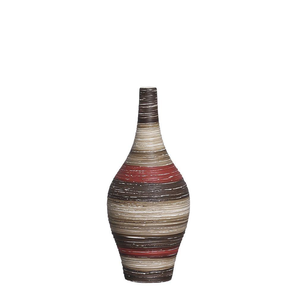 Garrafa Styllo P Decoração Cerâmica Vermelho e Marrom Terracota