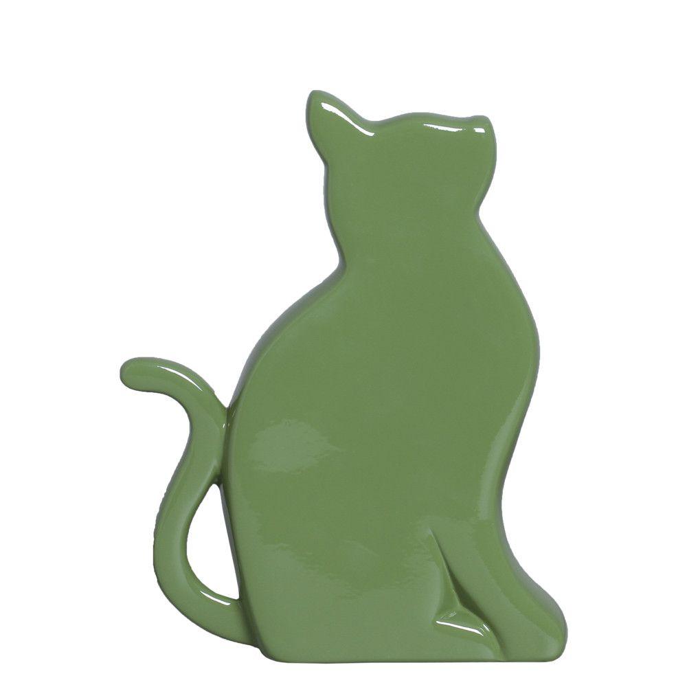 Gato G Verde Enfeite de Mesa Decoração em Cerâmica
