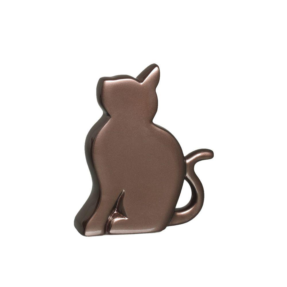 Gato P Enfeite De Mesa Decoração Em Cerâmica Bronze