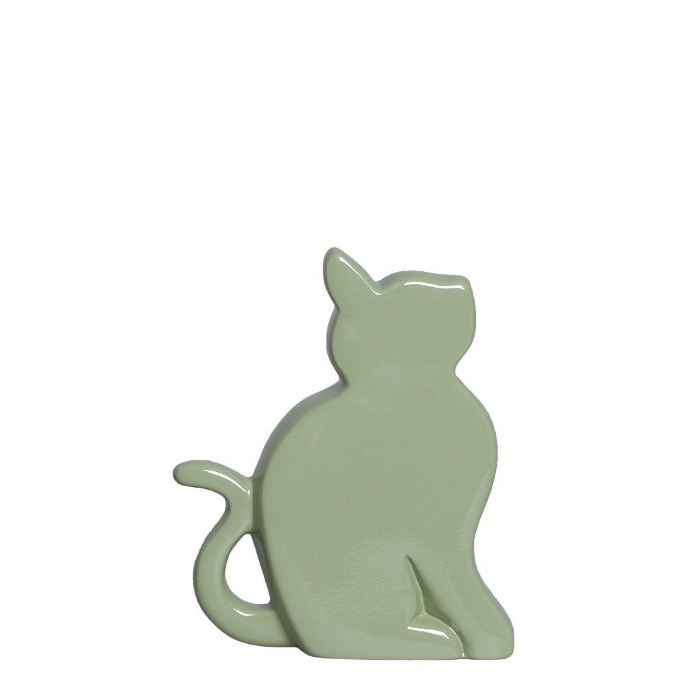 Gatinho P Enfeite de Mesa Decoração em Cerâmica Verde