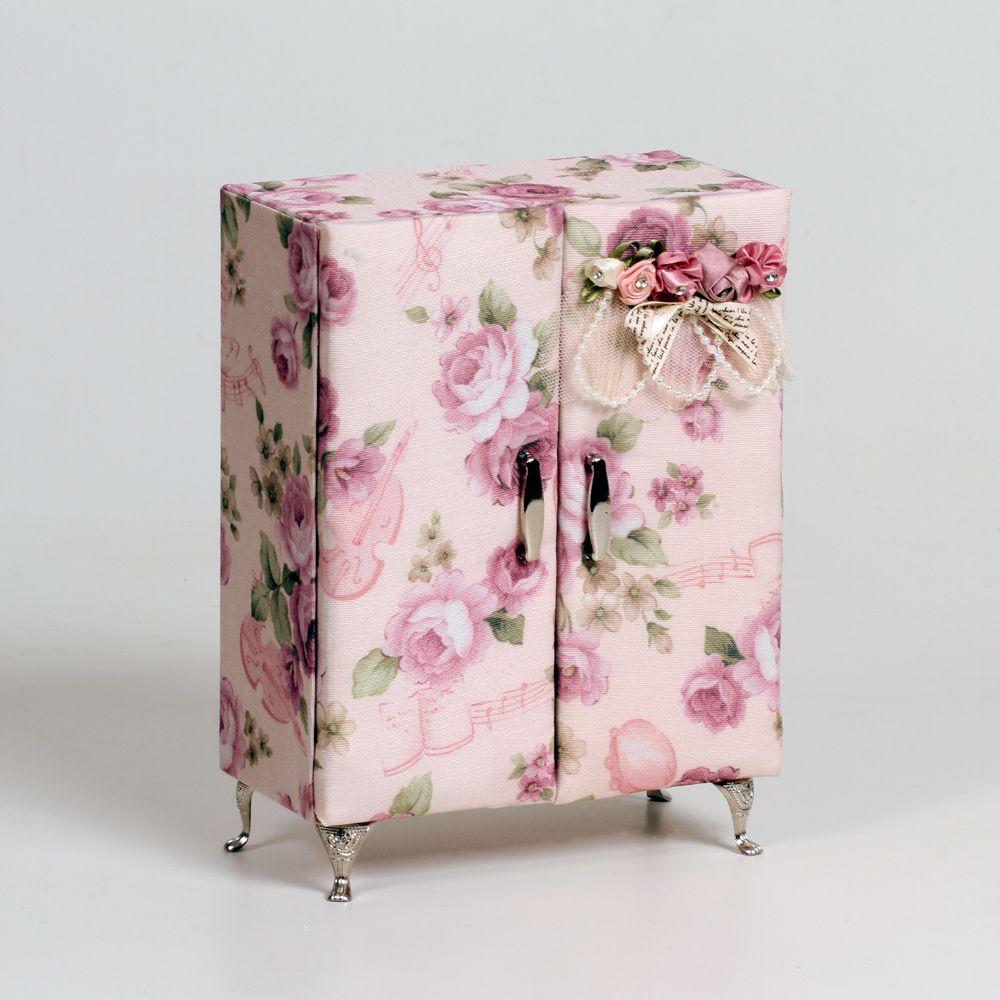 Porta Joias Guarda Roupas Tecido Floral Interior Camurça