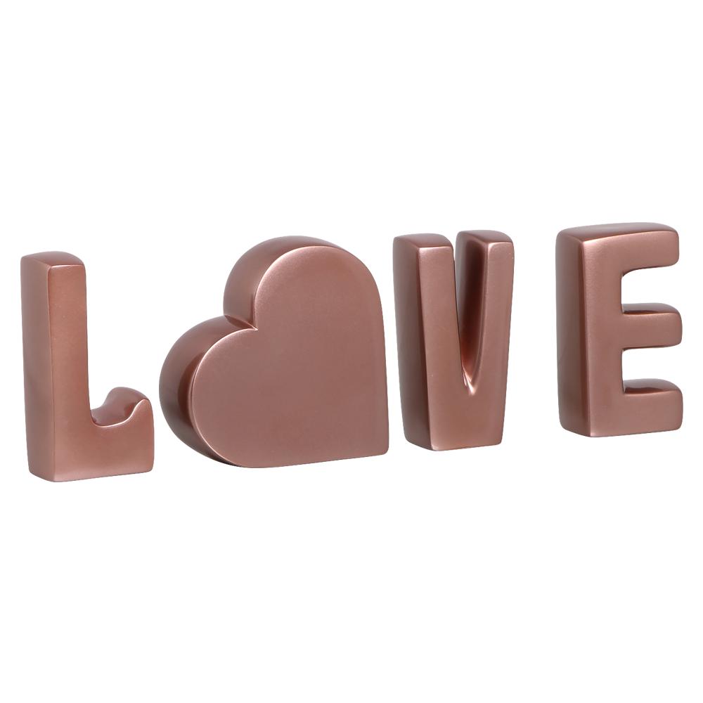 Palavra Love Coração Letras Decorativas Cerâmica Rose Gold