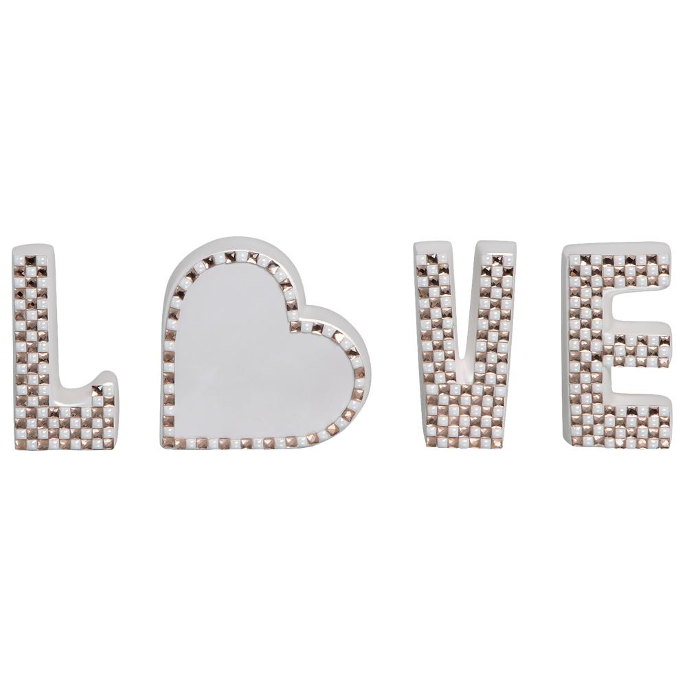 Palavra Love Letras Enfeite de Mesa Coração Cerâmica Pérola