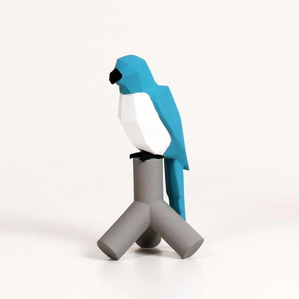 Passarinho Azul Low Poly Decoração Pet Em Resina 19 Cm