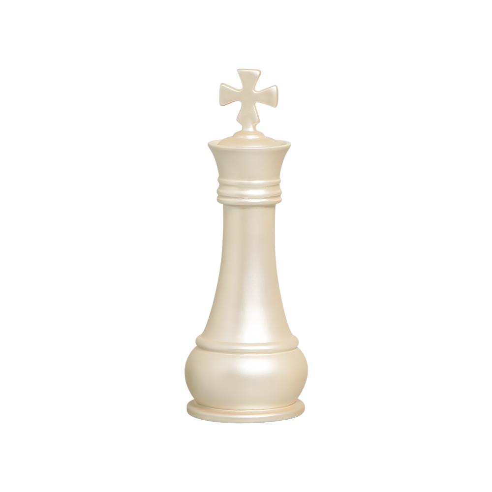 Peça De Xadrez Rei Enfeite Decoração Em Cerâmica Creme
