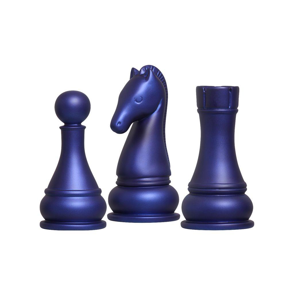 Peças de Xadrez Cavalo Torre e Peão em Cerâmica Azul Fosco