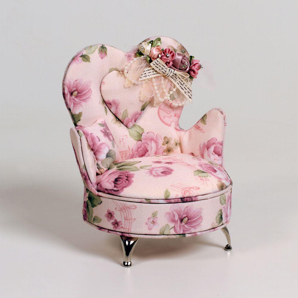Porta Joias Poltrona Estofada Com Tecido Floral E Espelho