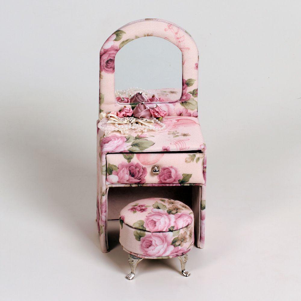Porta Joia Penteadeira Com Banquinho Tecido Floral E Camurça