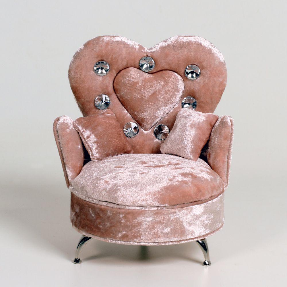 Porta Joias Poltrona Veludo Escosto Coração E Duas Almofadas