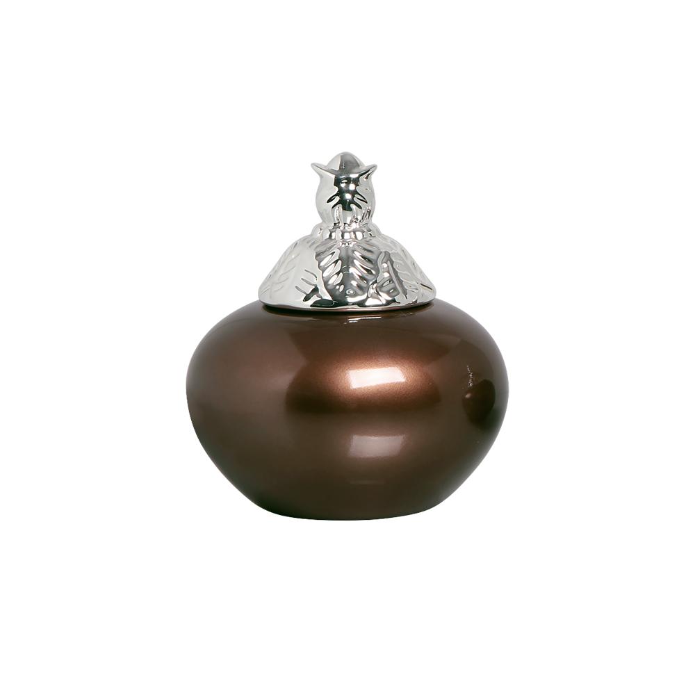 Pote Aurora G Detalhe Cromado Enfeite Cerâmica Bronze