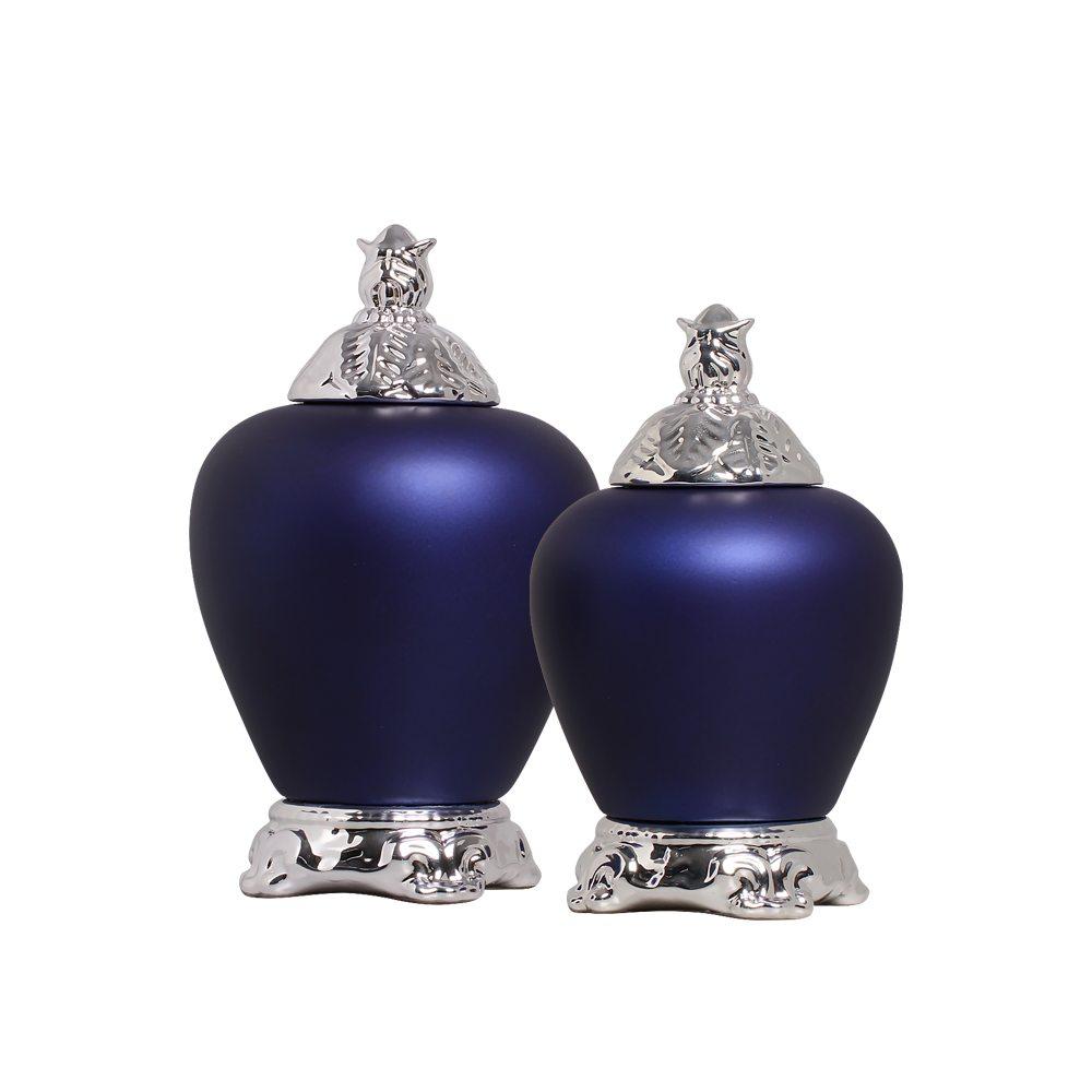 Pote Cairo G e P com Detalhe Cromado Cerâmica Azul Royal