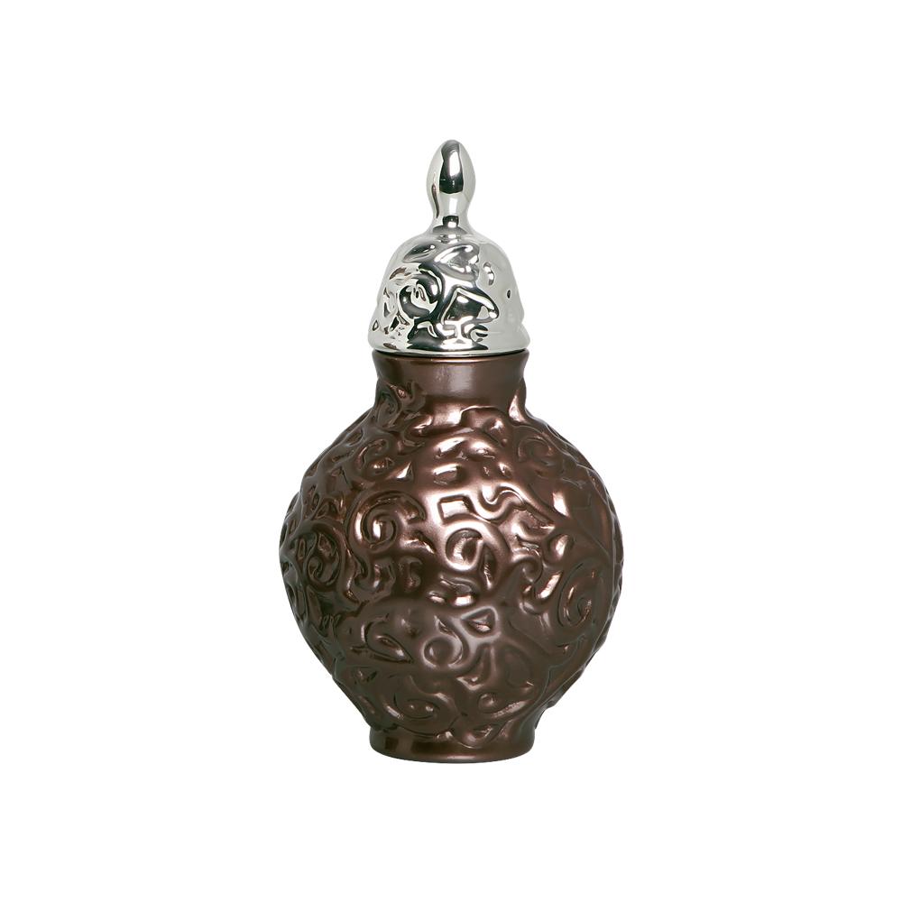 Pote Entrelaços P Com Detalhe Cromado Cerâmica Bronze