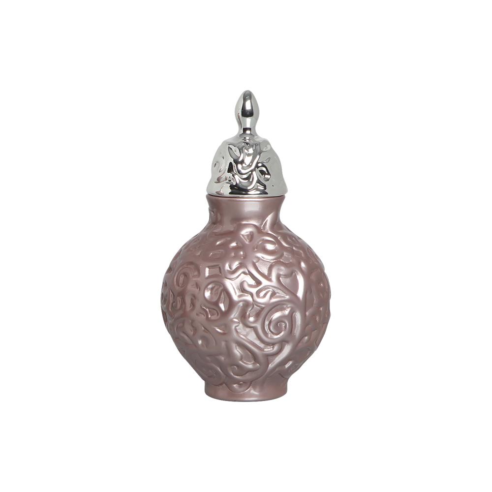 Pote Entrelaços P Com Detalhe Cromado Decoração Cerâmica Lilás