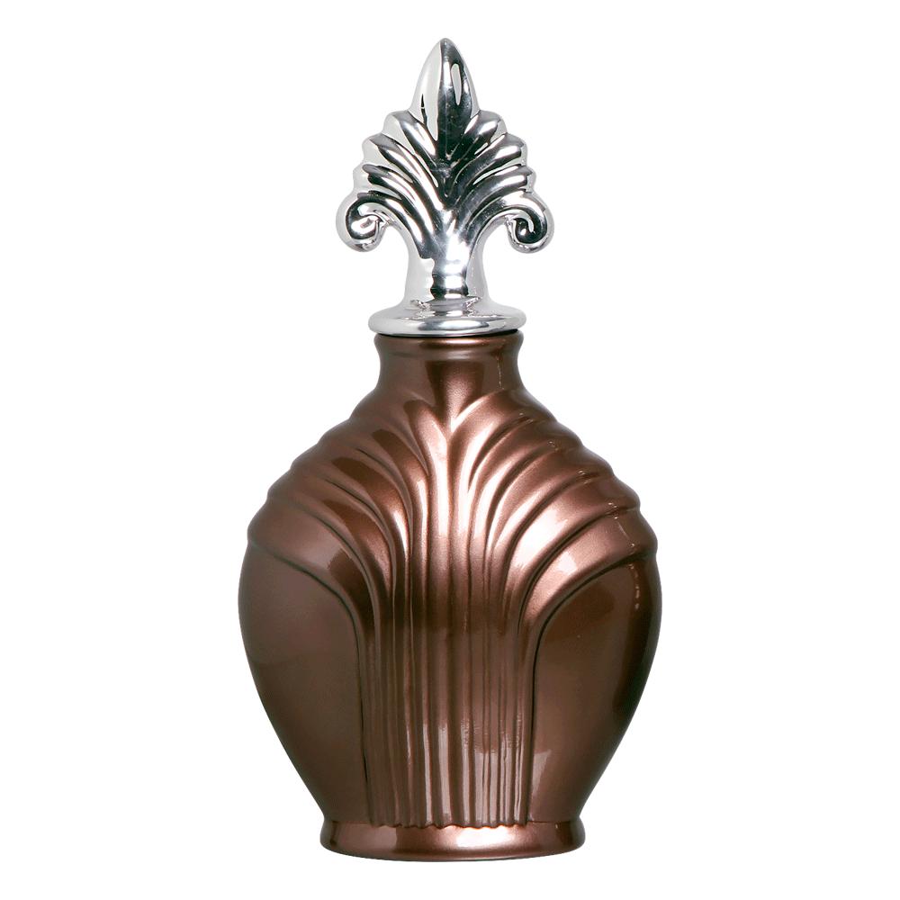 Pote Imperial G Com Detalhe Cromado Cerâmica Bronze