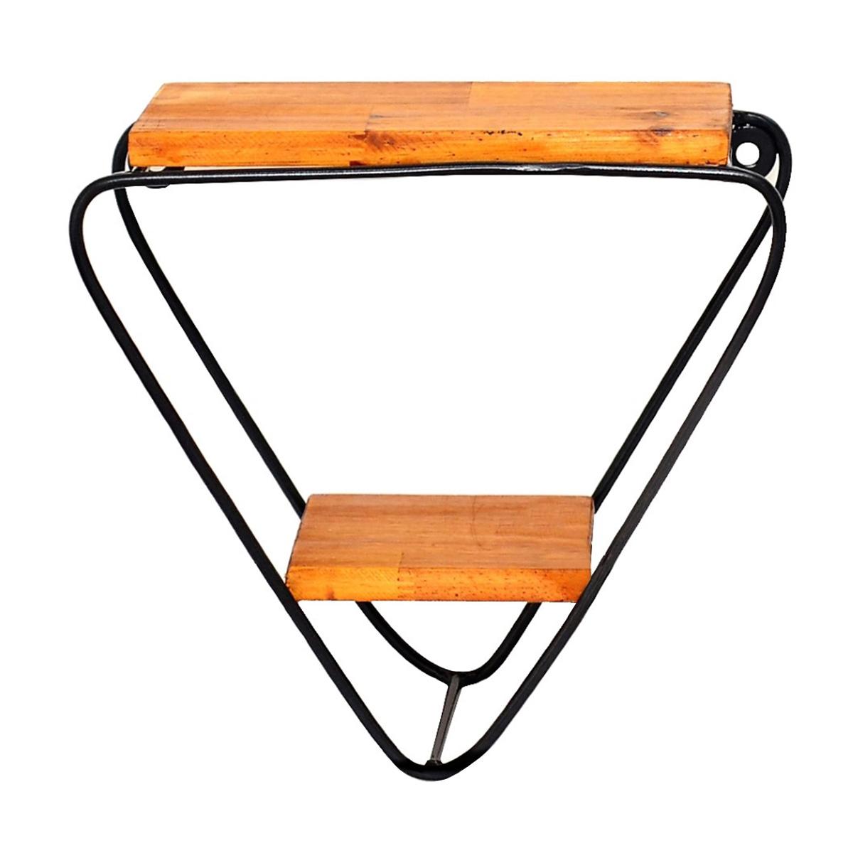 Prateleira Triangular Invertida 2 Nichos Suspensos Ferro e Madeira