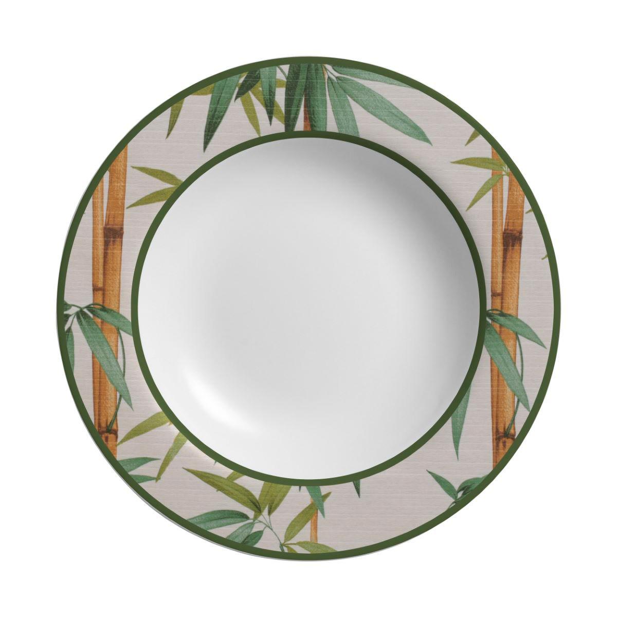 Prato Fundo Bambu Cerâmica Alleanza - 6 Peças