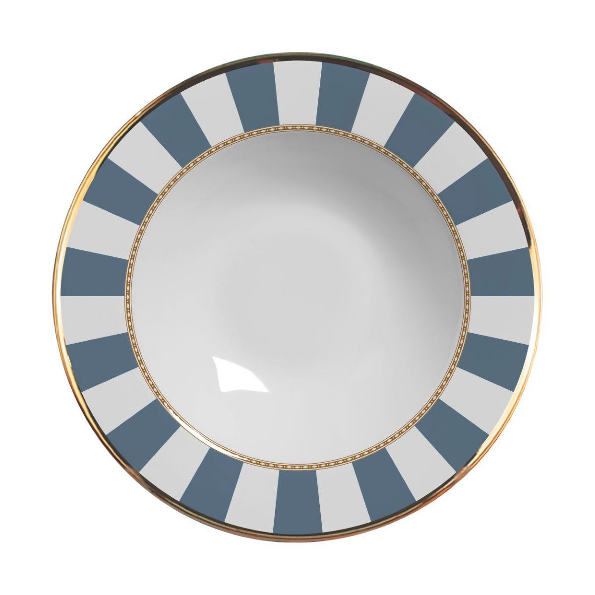 Prato Fundo Blue Strip Cerâmica Alleanza - 6 Peças