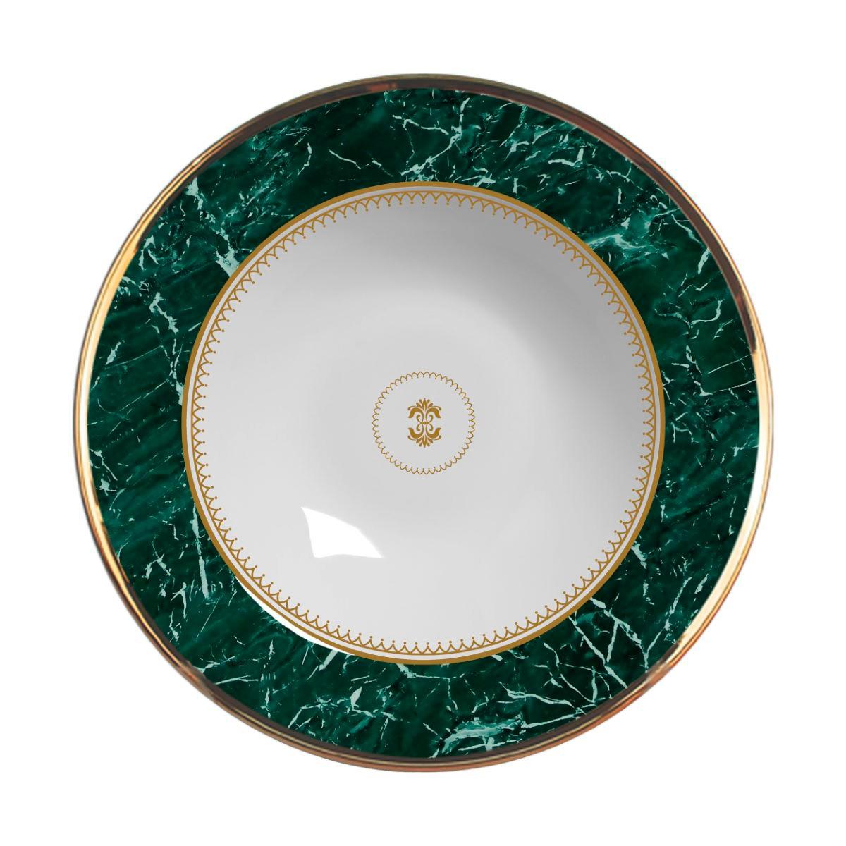 Prato Fundo Marble Verde Cerâmica Alleanza - 6 Peças