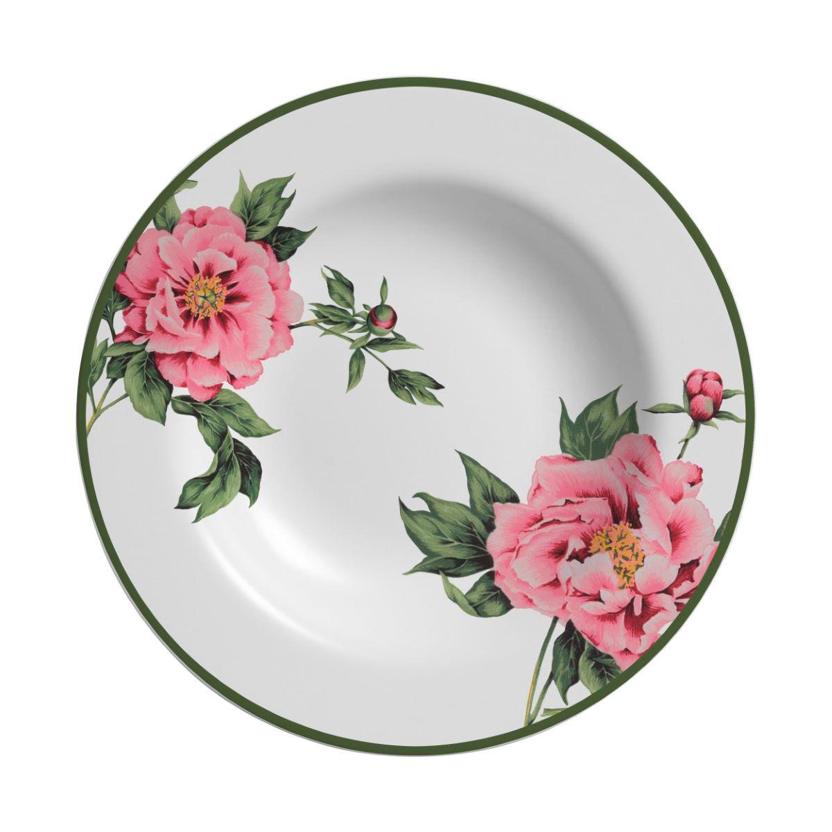 Prato Fundo Peony Rose Cerâmica Alleanza - 6 Peças