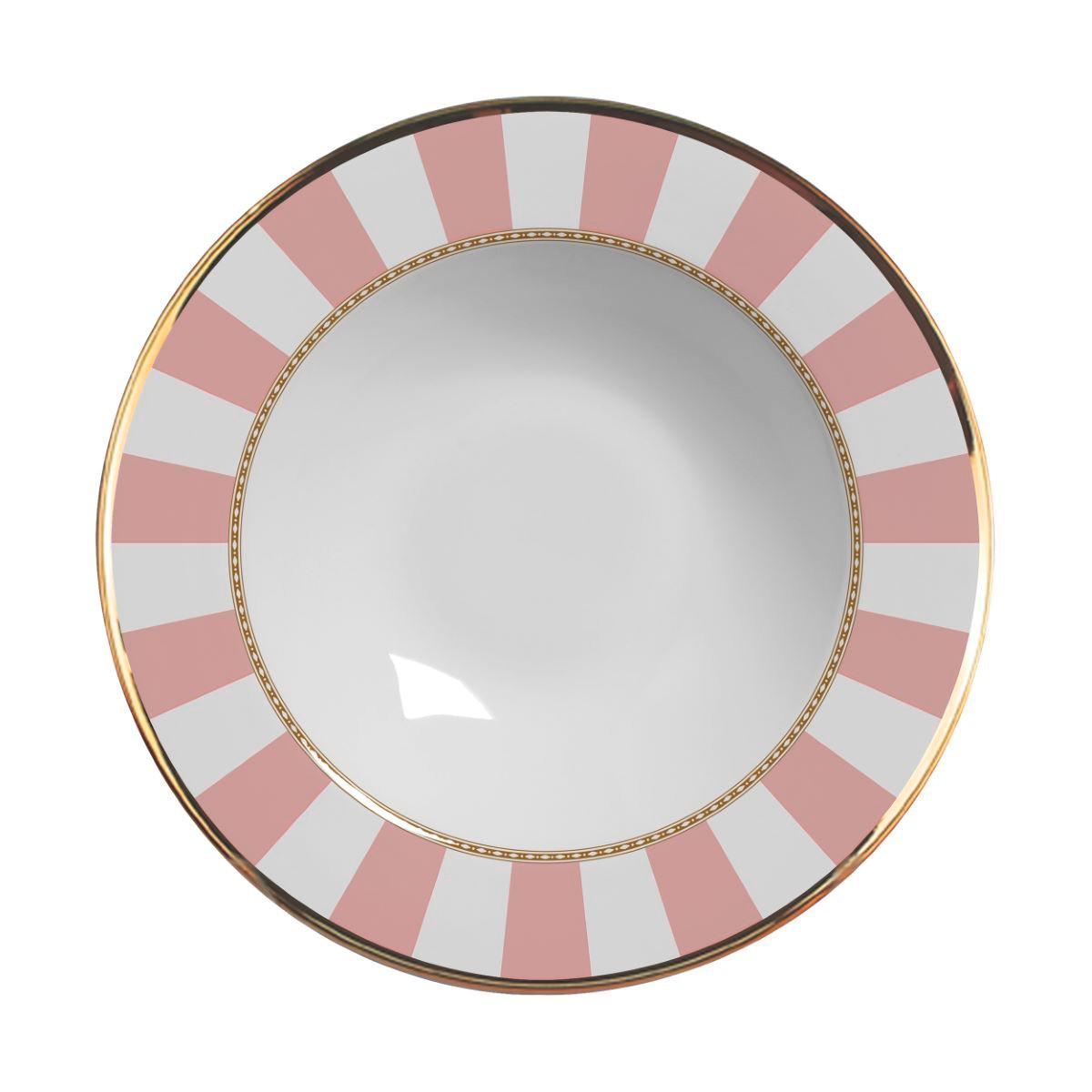 Prato Fundo Pink Strip Cerâmica Alleanza - 6 Peças