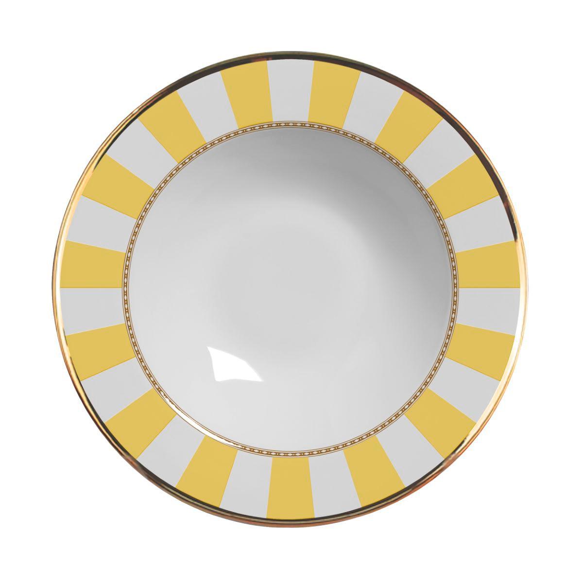 Prato Fundo Yellow Strip Cerâmica Alleanza - 6 Peças