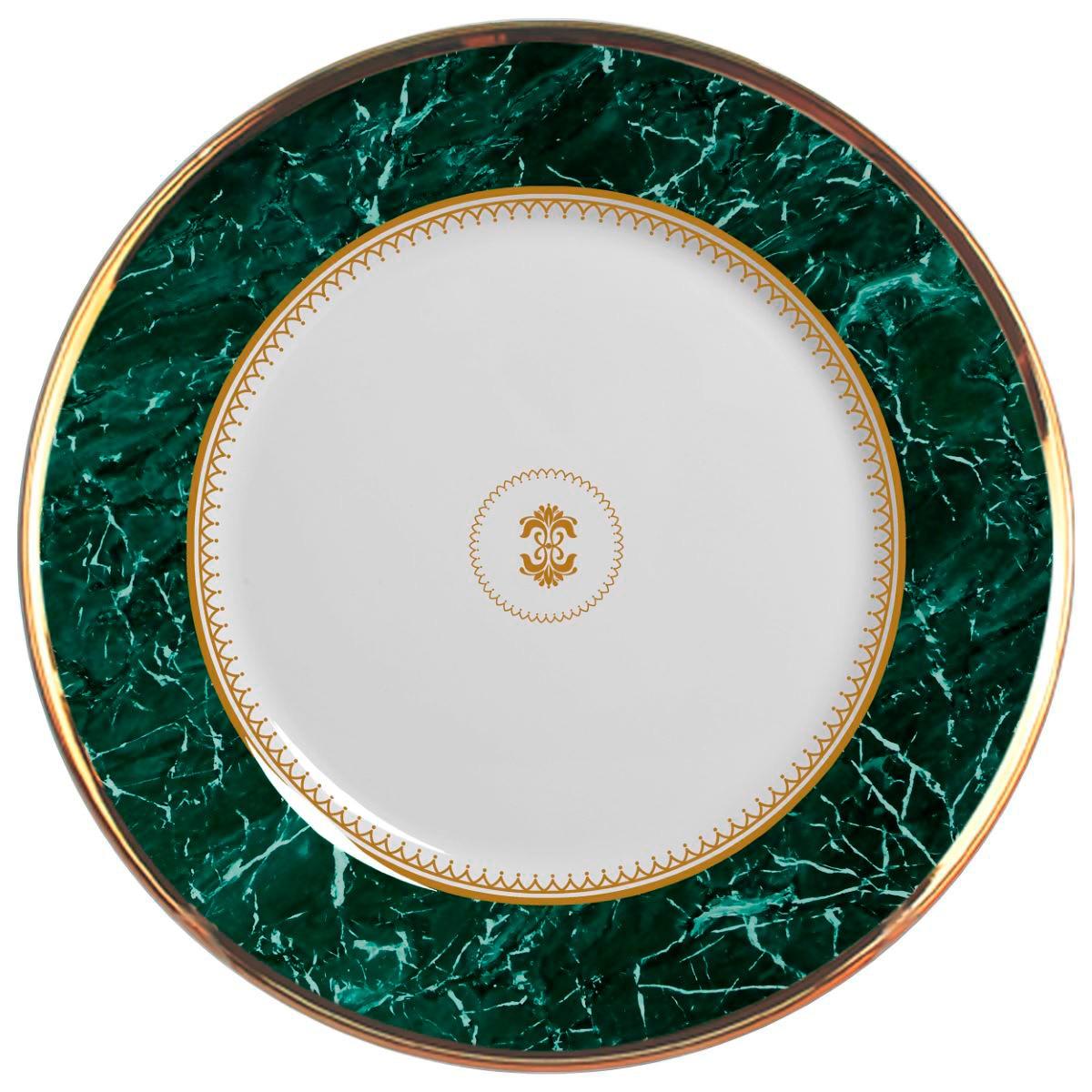 Prato Raso Marble Verde Cerâmica Alleanza - 6 Peças
