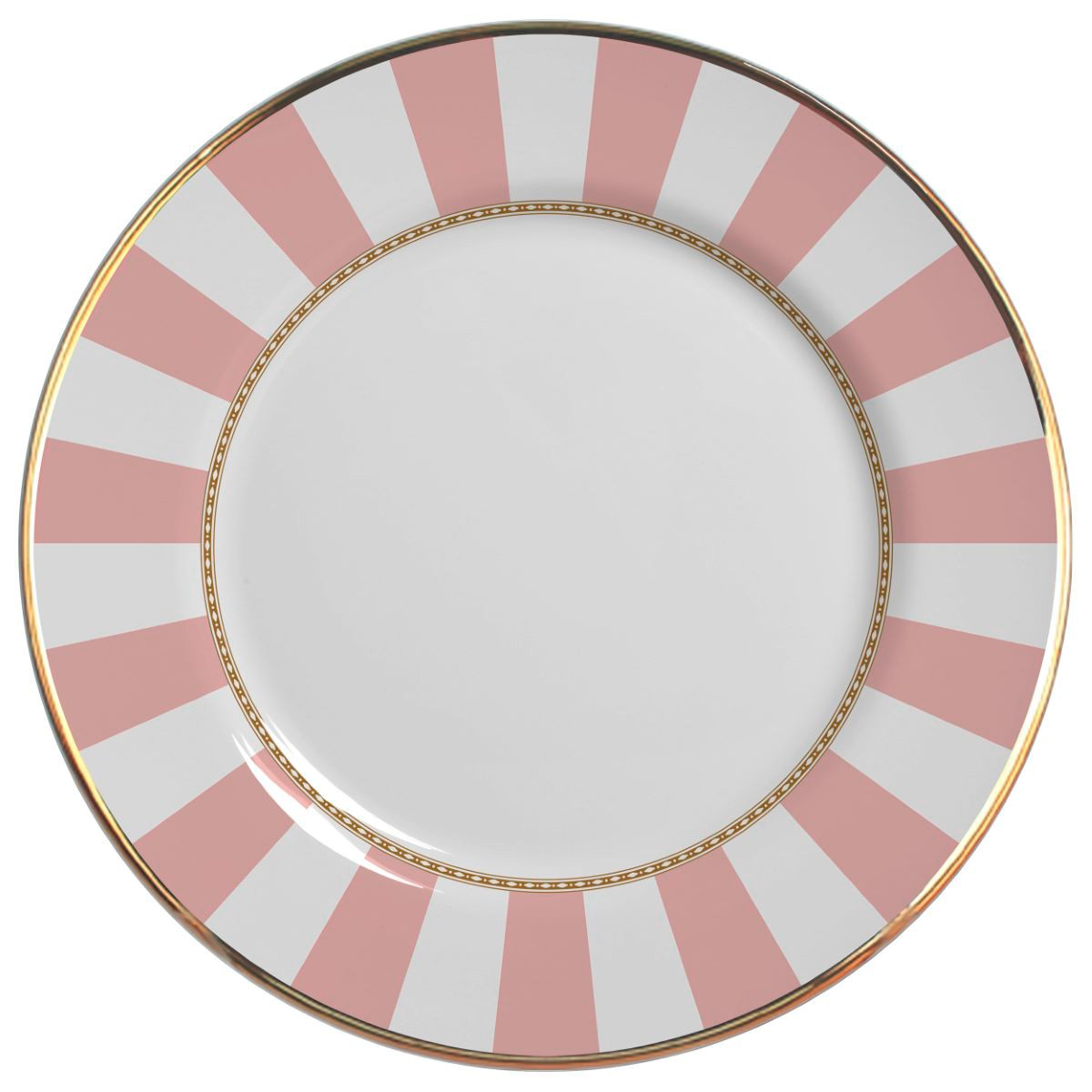 Prato Raso Pink Strip Cerâmica Alleanza - 6 Peças