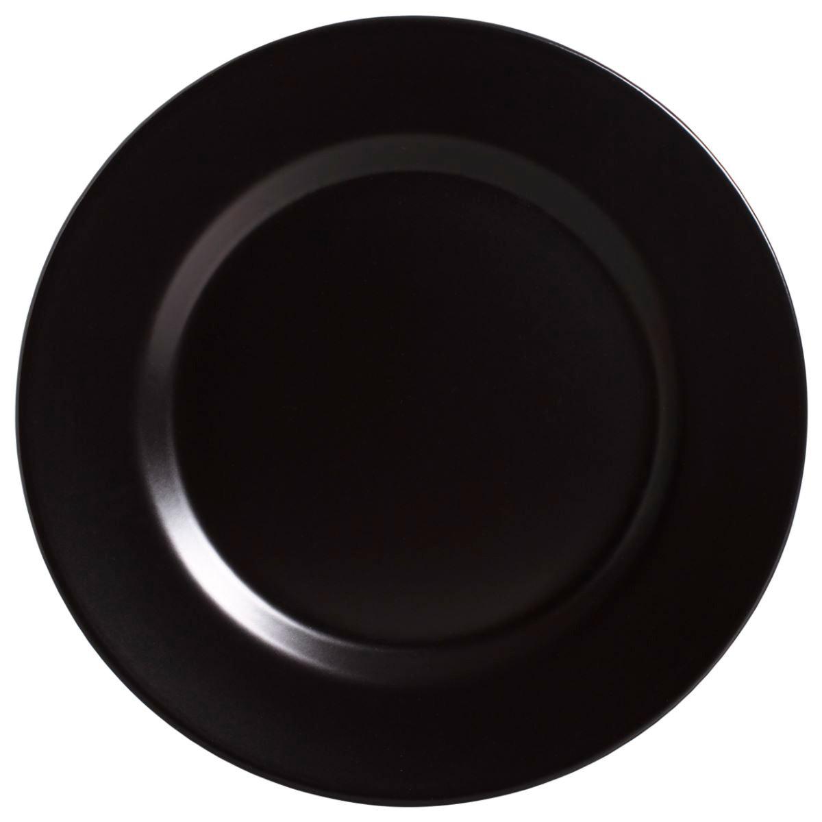 Prato Raso Preto Acetinado Cerâmica Alleanza - 6 Peças