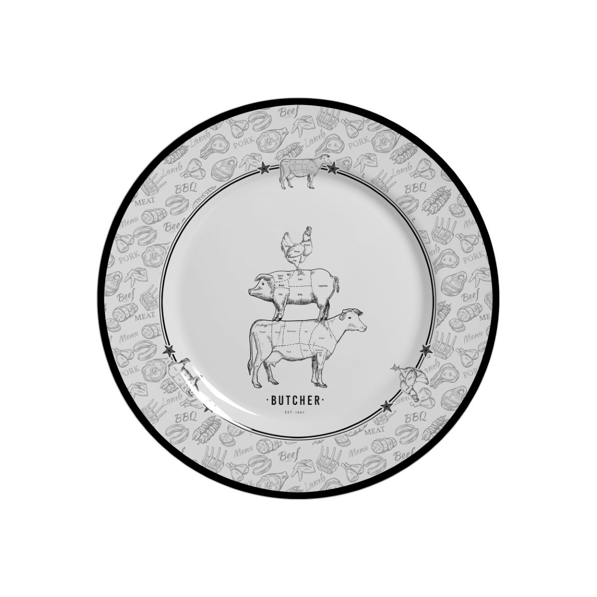Prato Sobremesa Barbecue Cerâmica Alleanza - 6 Peças