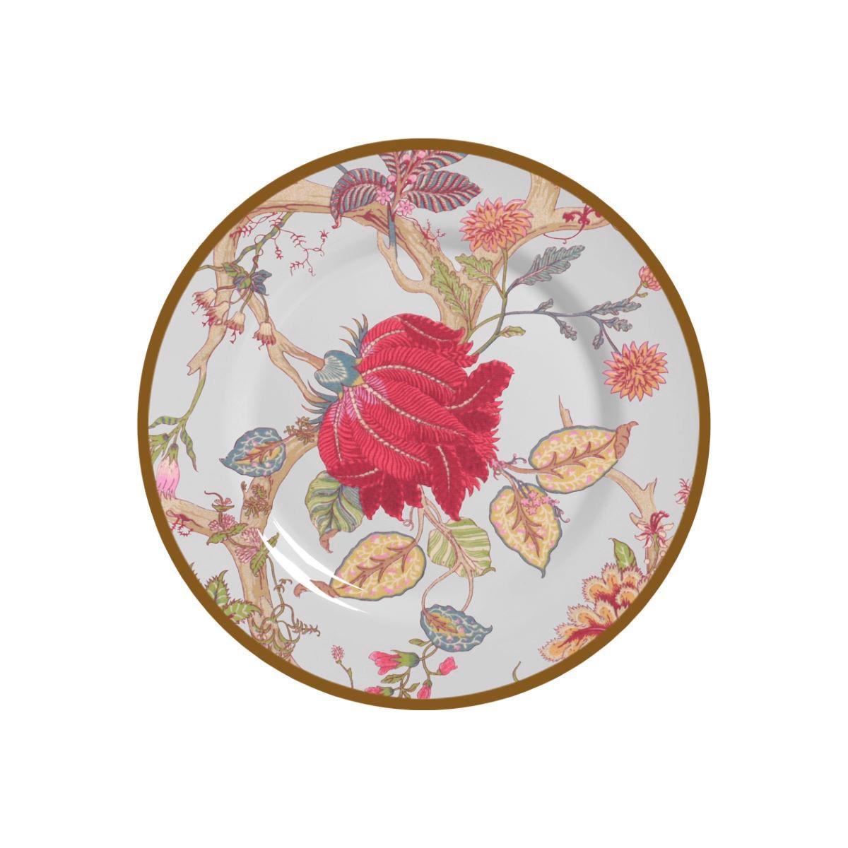 Prato Sobremesa China Flowers Branca Cerâmica Alleanza - 6 Peças