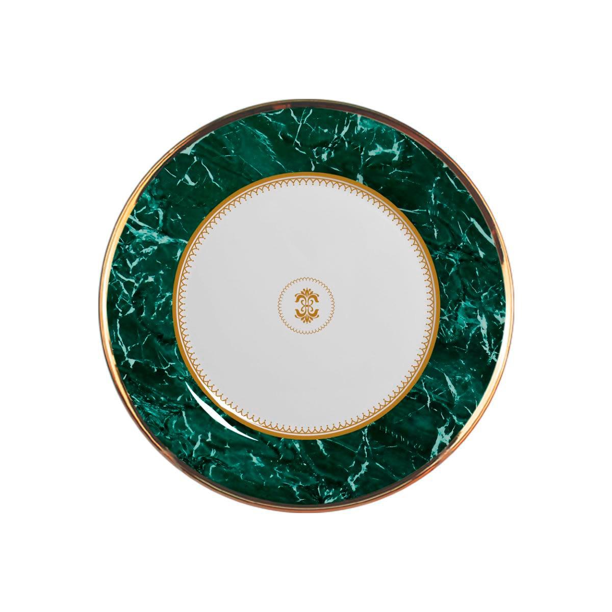 Prato Sobremesa Marble Verde Cerâmica Alleanza - 6 Peças