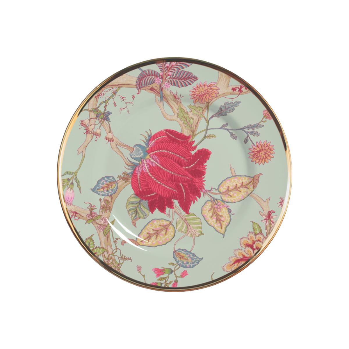 Prato Sobremesa Neomint Flowers Cerâmica Alleanza - 6 Peças