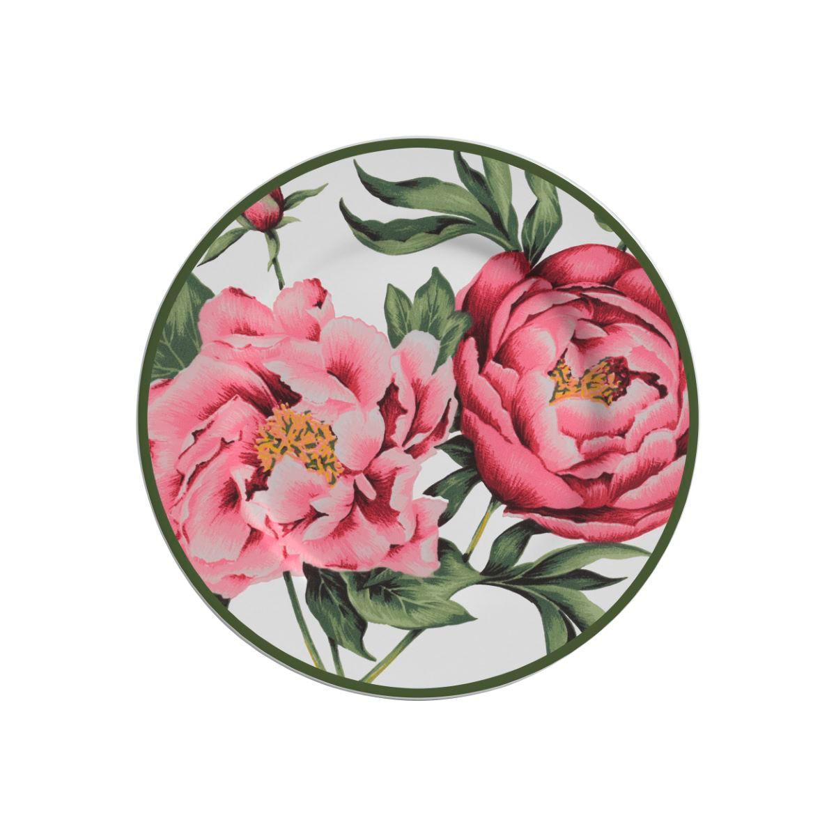 Prato Sobremesa Peony Rose Cerâmica Alleanza - 6 Peças