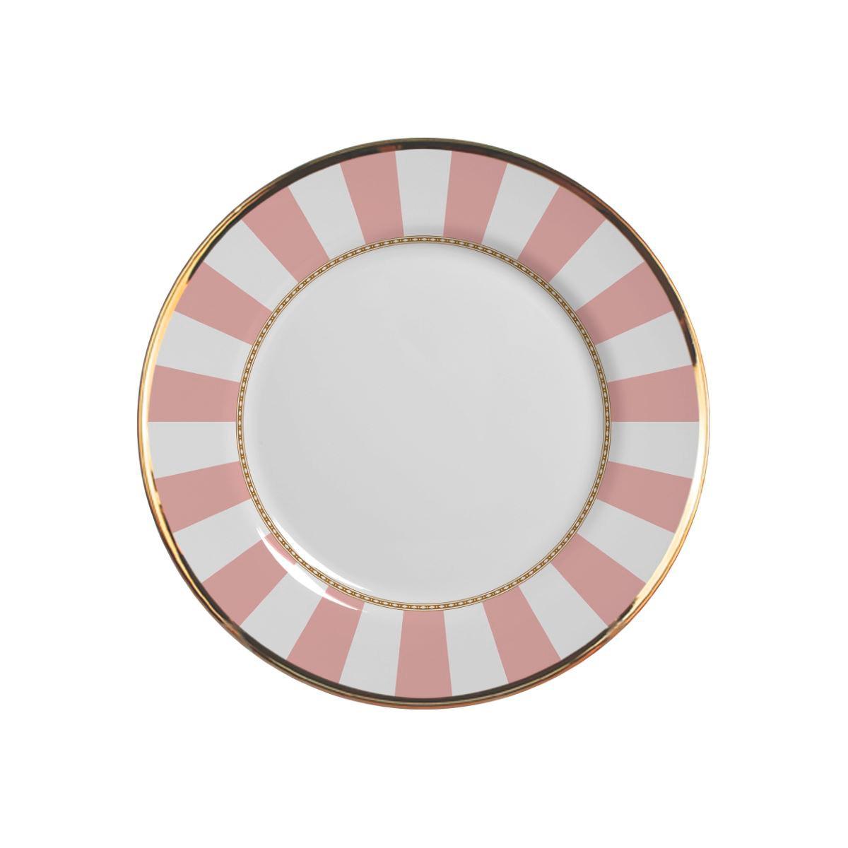 Prato Sobremesa Pink Strip Cerâmica Alleanza - 6 Peças