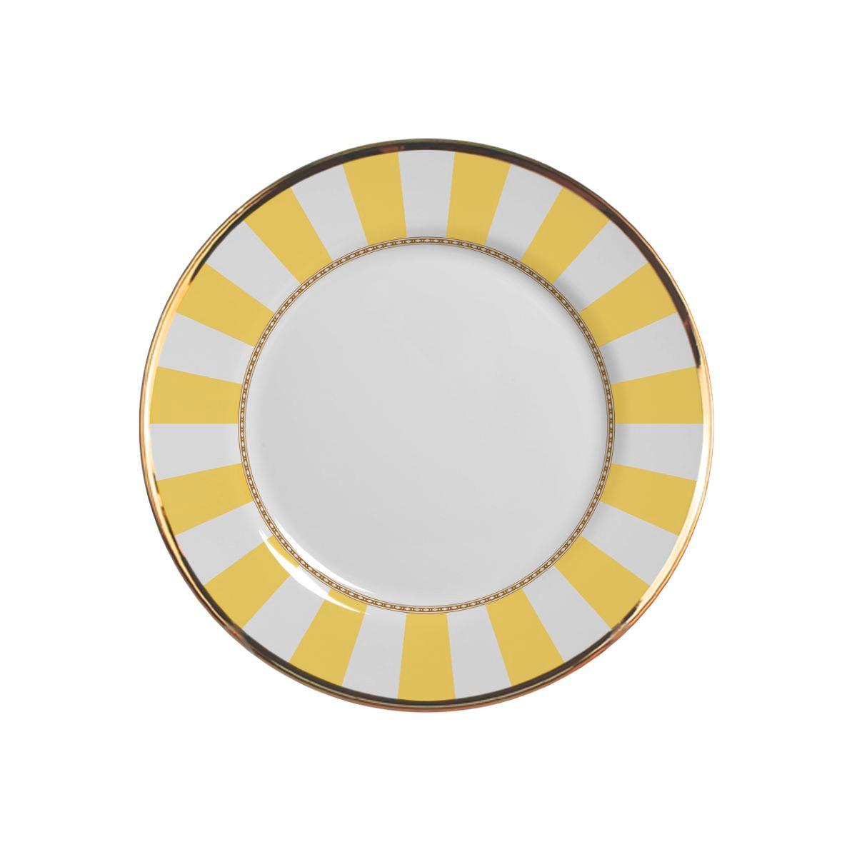 Prato Sobremesa Yellow Strip Cerâmica Alleanza - 6 Peças