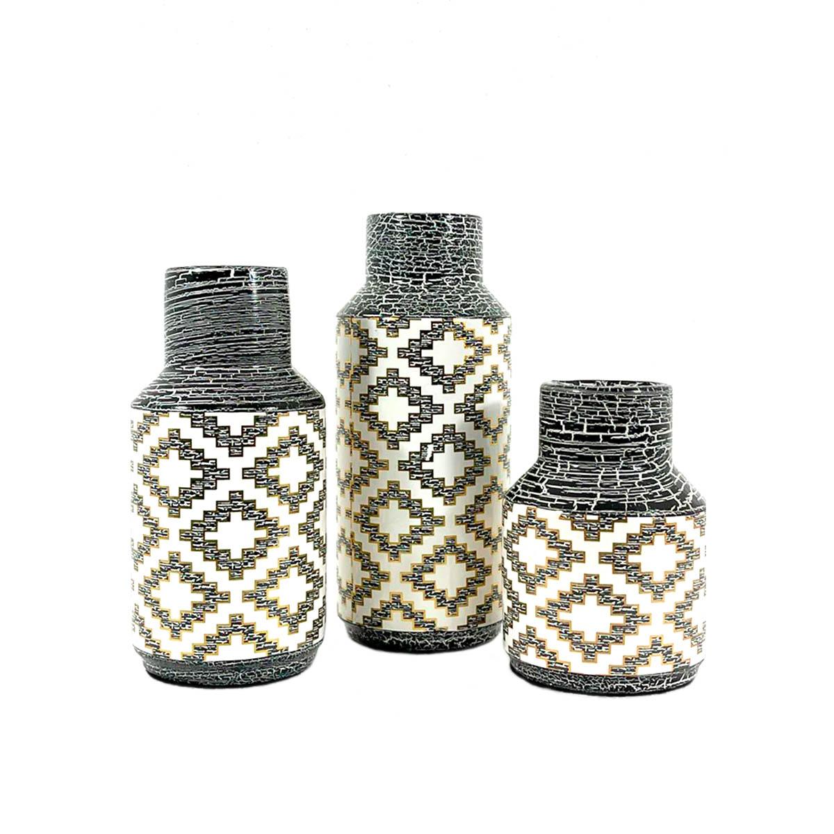 Trio Vasos  De Mesa PumaPunku Decoração Em Cerâmica