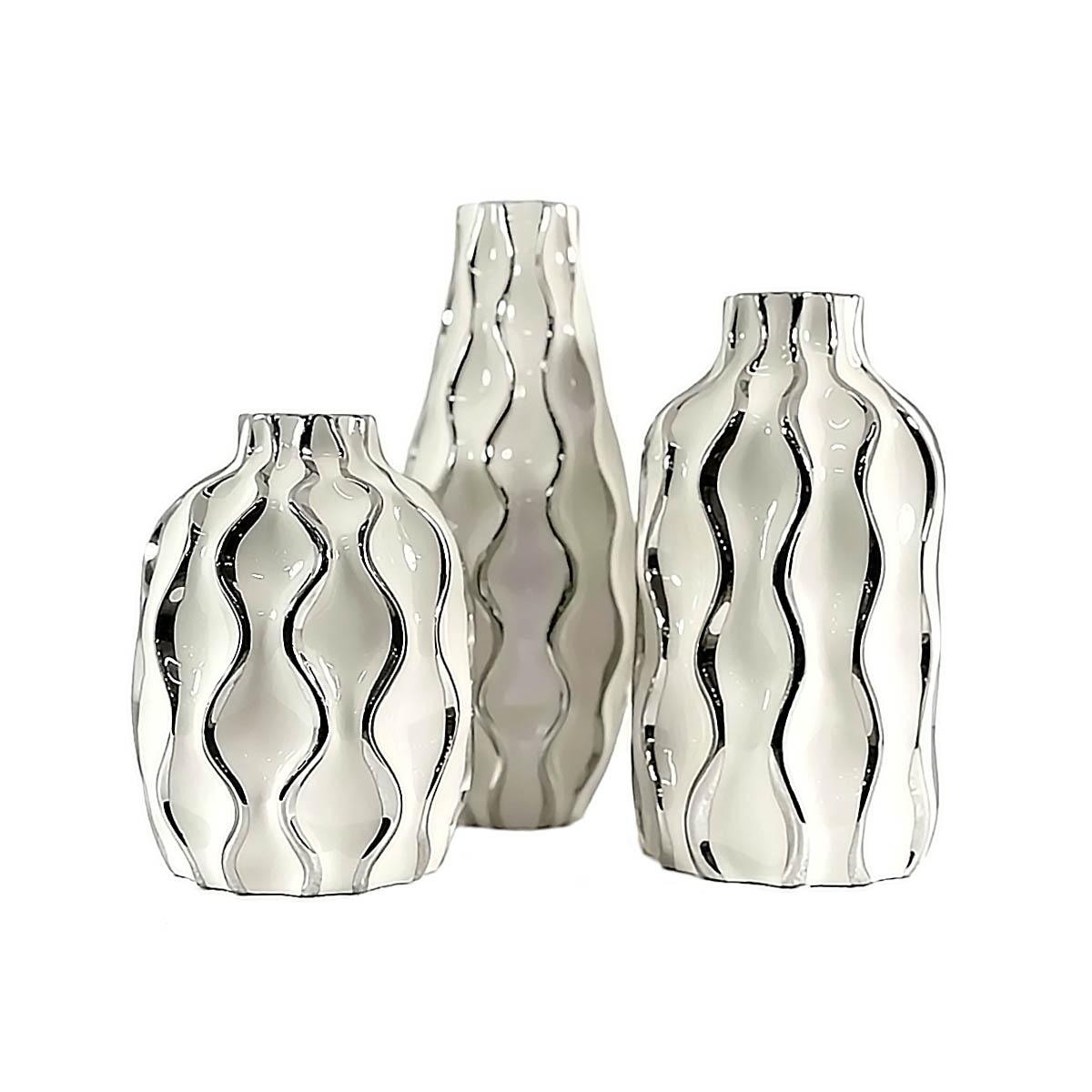 Trio De Vasos Antártida Decoração Cerâmica Branco