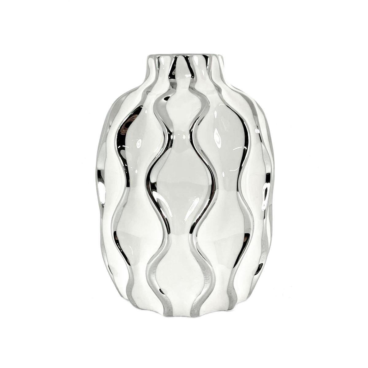 Vaso Decorativo Antártida P Decoração Em Cerâmica Branco