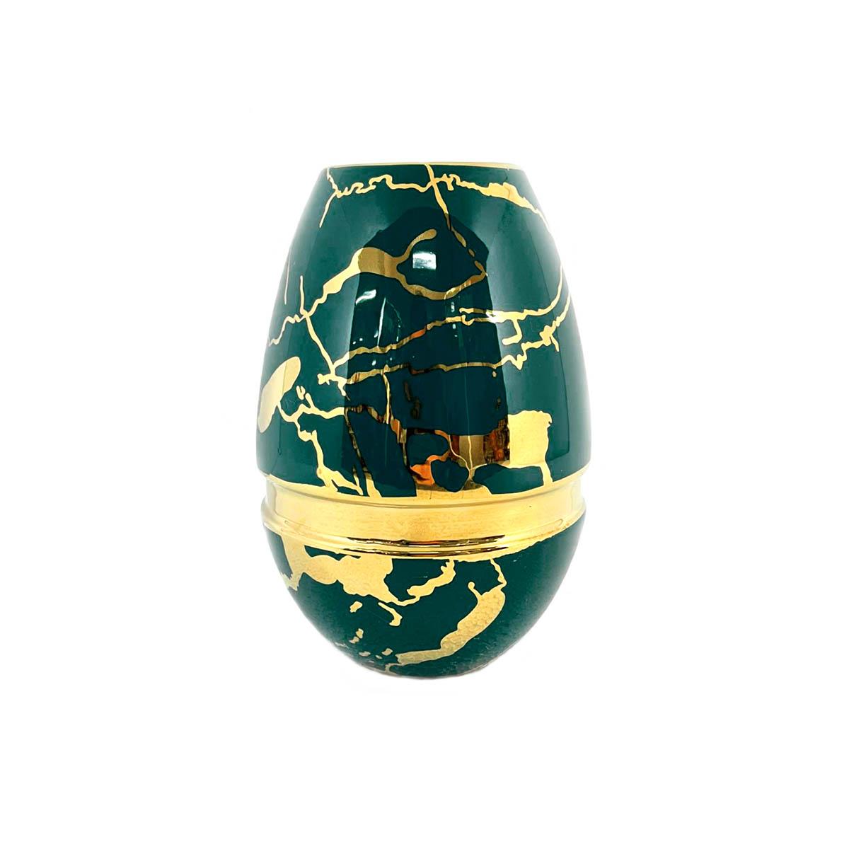 Vaso De Mesa Lírico Decoração Em Cerâmica Verde E Dourado