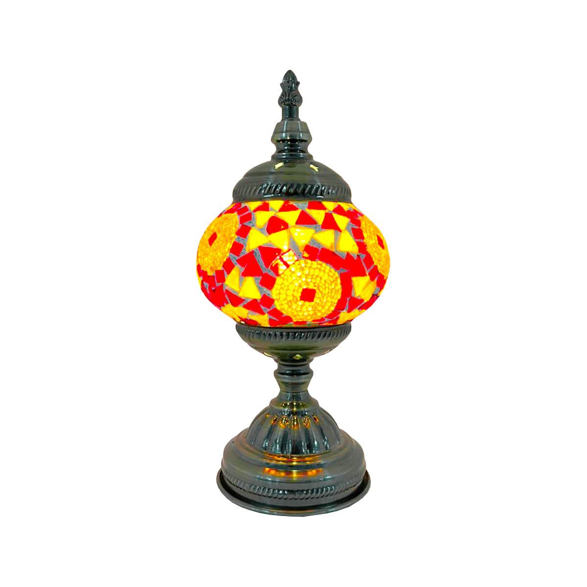 Luminária De Mesa Marroquina Com Mosaico Colorido