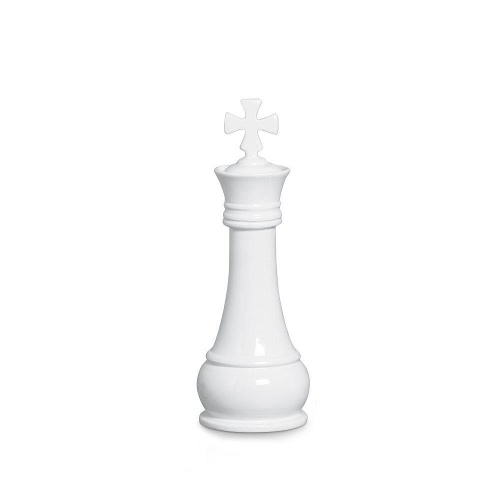 Peça Xadrez Rei Branco Decoração Em Cerâmica Clássica Branca
