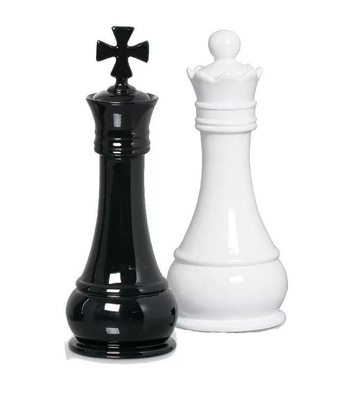 Peça Xadrez Rei E Rainha Decoração Em Cerâmica Clássica Branca E Preta